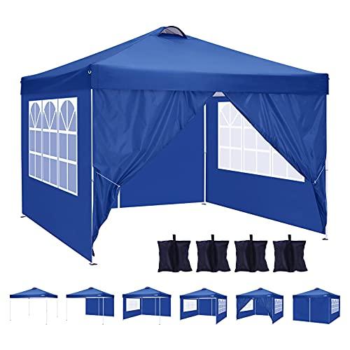 Tooluck Carpa Plegable de 3 x 3 con Lados para jardín, Cenadores de jardín, Carpa para Exteriores, Resistente con Techo ventilado, 4 Bolsas de Arena