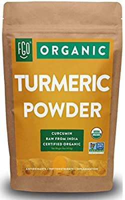 Organic Turmeric Root Powder w/Curcumin | Lab Tested for Purity | 100% Raw from India | 16oz/453g (1lb) Resealable Kraft Bag | by FGO