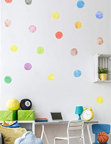 Mictovin Polka Dot Wall Decals Watercolor Dots Multicolor Wall Stickers for Home Kids Bedroom Deco 54 Pcs