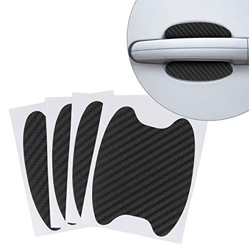 kwmobile 4X Universal Auto Türgriff Lackschutzfolie - selbstklebend - Carbon Schutzfolie Griffmulden Schwarz - 6,8 x 8,5 cm