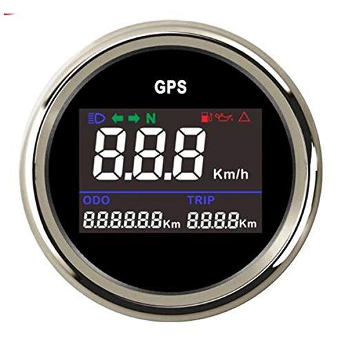 SymArt Speedómetros de reemplazo automotriz Motocicleta 52 mm Digital GPS Velocímetro Cuentakilómetros Kilometraje Contador Ajustable Overspeed Timbre Alarma para Camiones de Tractor de Motocicletas.