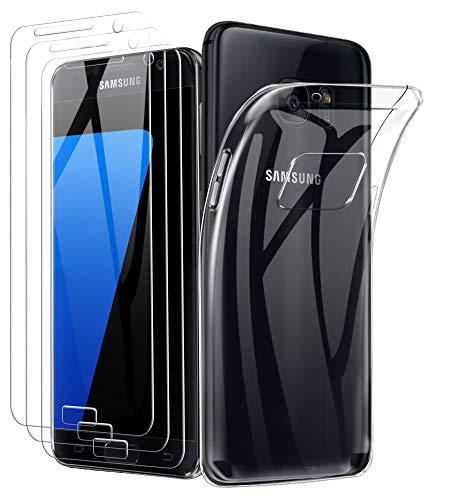 A-VIDET 3 Stück Panzerglas Schutzfolie + hülle für Samsung Galaxy s7, 9H Härte Schutzfolie Anti-Kratzer/Anti-Öl/Anti-Bläschen/Anti-Staub Displayfolie Panzerglasfolie für Samsung Galaxy s7