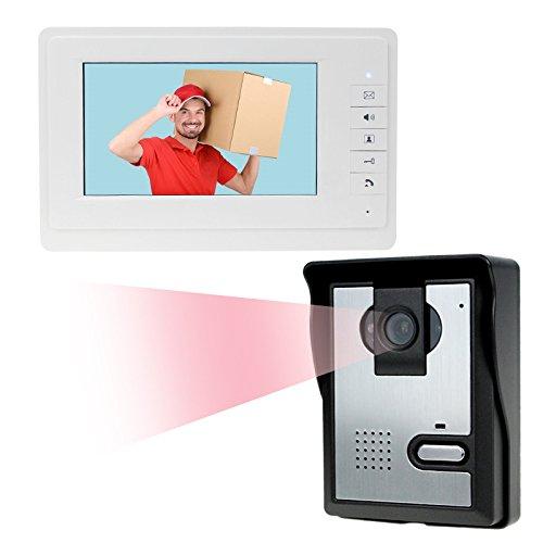 LIBO 7' Videocitofono domestico cablato Citofono IR Visione notturna 25 Suonerie IP54 Impermeabile per sistema di ingresso serratura