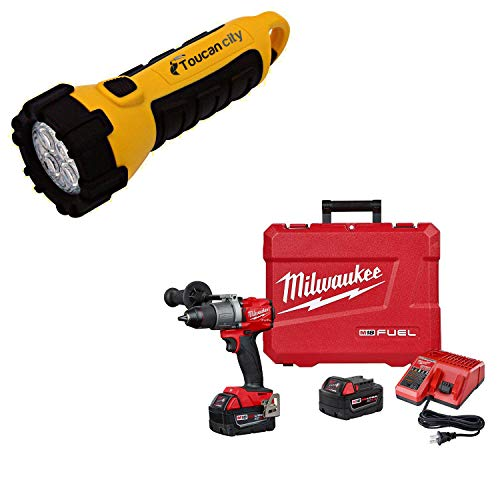 Toucan City LED Flashlight and Milwaukee M18 FUEL 18-Volt Lithium-Ion Brushless Cordless 1/2 in. Drill/Driver Kit W/(2) 5.0Ah Batteries, Charger, and Hard Case 2803-22