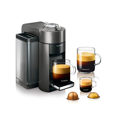 Nespresso by De'Longhi ENV135GYAE Coffee and Espresso Machine Bundle with Aeroccino Milk Frother by De'Longhi, Graphite Metal