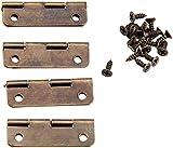 4pcs 30x17mm gabinete de bronce antiguo bisagras mini puertas bisagras gabinete cajón caja de joyería decorar bisagra para accesorios de muebles