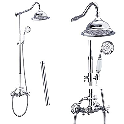 Aolemi Polish Chrome Shower Faucet 8 Inch Rainfall Shower Head 12 Inch Extension Tube Included Handheld Spray Shower Fixture Dual Knobs Mixer Bathroom Shower System Combo Set Wall Mount