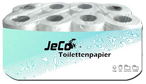 JeCo 24 Rollen Toilettenpapier - Klopapier WC - 3-lagig - 150 Blatt - weiß