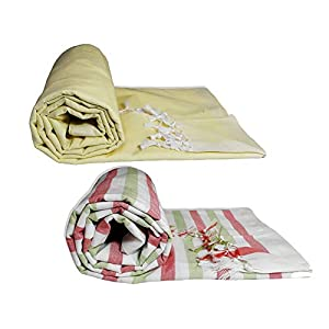 Riyashree Organic Cotton Silky Soft Bhagalpuri Dull chadar lite Blanket & Duvet ( 52*94 in ) Combo Pack of 2 Dull 12 14