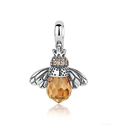 DIY S925 Plata De Ley Real Orange Dancing Bee Colgantes Encantos De La Boda Cuentas Fit Original Pandora Pulsera con Cuentas Collar DIY Mujer Fabricación De Joyas