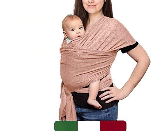 Fular Portabebe Elastico Y Ajustable (MADE IN ITALY) - Porta Bebes Recien Nacidos Fácil De Usar Y Apropiada Hasta 10 Kg - Mochila Portabebes Con 2 Baberos De Regalo (Rosa)