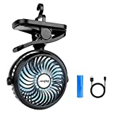 Clip On Camping Fan with LED Lights, 2200 mAh Rechargeable Battery/USB Operated Mini Fan with Hook Portable for Stroller Home Ofiice Outdoors Travel Camping Hiking