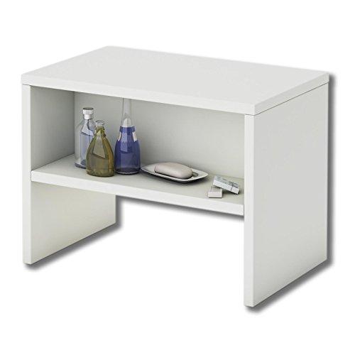 CARO-Möbel Nachttisch NEY Nachtschrank Beistelltisch mit offenem Fach in weiß