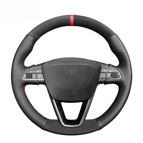 BAWAQAF Funda de piel sintética para volante de coche Seat