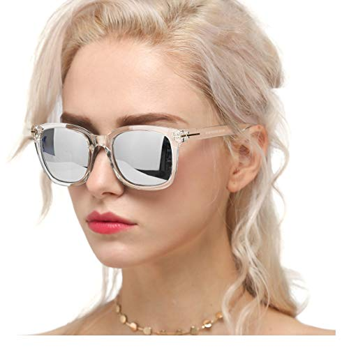 Myiaur Fashion Sunglasses for Women Polarized Driving Anti Glare 100% UV Protection Stylish Design (A Transparent Frame/Silver Mirrored Polarized Lens)