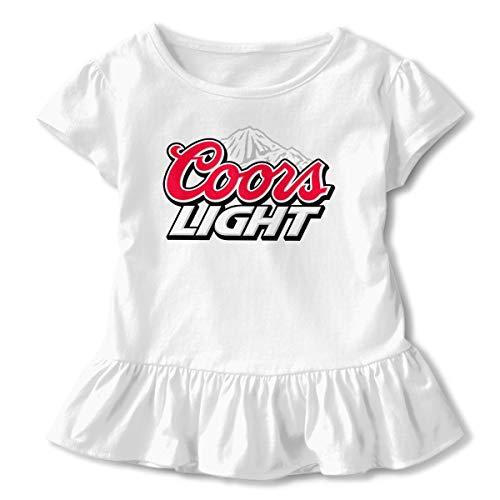 Coors Light Children Lovely Short Sleeve Ruffled Dresses T Shirts 5/6T White
