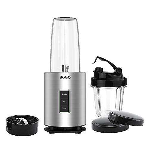 SOGO SS-5520 Nutri-Life Bullet Blender, 1200W, Kit Vasos Sin BPA, Batidora de Vaso Individual, Licuadora para Smoothies - Color Gris