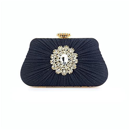 ileibmaoz Pochette Donna Pochette Brillante da Donna Fold Craft Borse per Pochette da Donna Hasp Wedding Black
