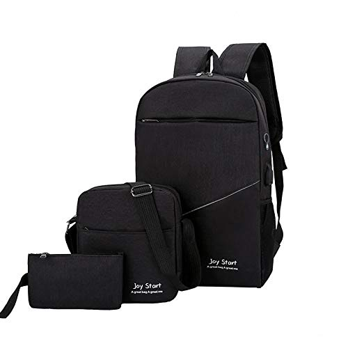 BeniMochila informal, multifuncional, resistente al desgaste, con doble espalda, tres piezas, mochila escolar-negro