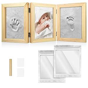 Navaris Kit para huellas de bebé - Marco de fotos de madera con arcilla para imprimir huella del pie y mano de recién nacido - Set 3D para regalo