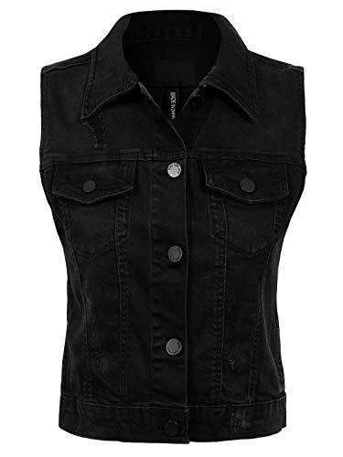 Design by Olivia Women's Junior Fit Sleeveless Button up Jean Denim Jacket Vest Distressed Black 1XL