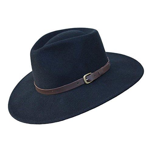 Borges & Scott B&S Premium Lewis - Fedora Hut mit breiter Krempe - 100% Wollfilz - wasserfest - Lederband - 56cm Schwarz