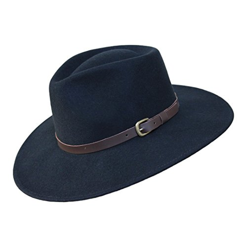 B&S Premium Lewis - Sombrero de ala Ancha Fedora - 100% Fieltro de Lana - Resistente al Agua - Banda de Piel - Negro 54cm