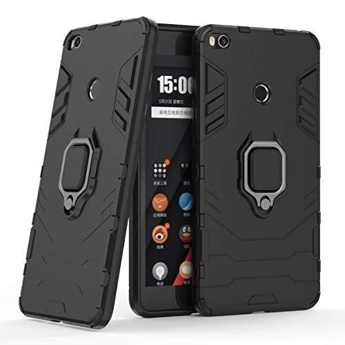 Compatible con Xiaomi Mi Max2 Funda, Anillo Metálico Sujeción Soporte Antichoque Rígido Caja (Funciona con el Montaje de Coche Magnético) Doble Capa Sólido Case Carcasa para Xiaomi Mi Max 2 (Negro)