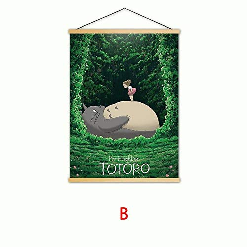 Yyoutop Dekoration Wandkunstwerk Animation Mein Nachbar Totoro Malerei Massivholz Hängen Leinwanddruck Moderne Bild Poster Kinder RoomFrameless