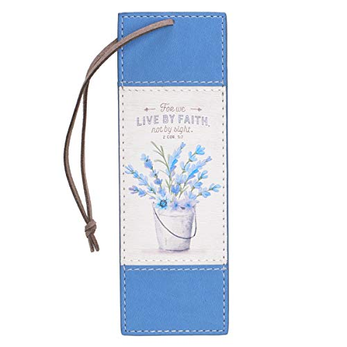 Christian Art Gifts Blue Faux Leather Bookmark   Live By Faith - 2 Corinthians 5:7 Bible Verse Inspirational Bookmark for Women w/Satin Ribbon Tassel