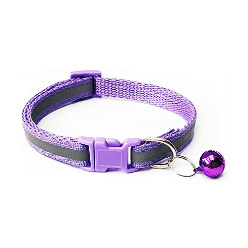 Qingsb 1 stks huisdier halsbanden ketting kraag met bellen voor kleine middelgrote honden hals verstelbare veilige puppy kitten katten kraag, licht paars, s