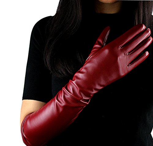 Edith qi Women's Long Evening Dress Faux Leather Elbow Length Party Gloves,Small,Wine Red