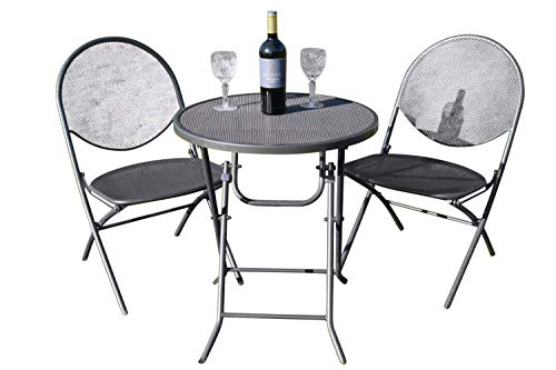 Garden Market Place Cambridge Garten-Bistro-Set – 2 zusammenklappbare Netzstühle und EIN Netz-Tisch, 125 X 99 X 80