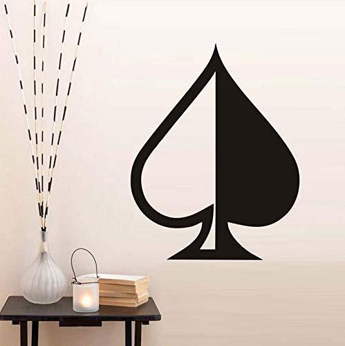Calcomanías de pared de medio y medio as de espadas Vinilo de dormitorio extraíble Cabecera Etiqueta de pared de póker Papel tapiz extraíble