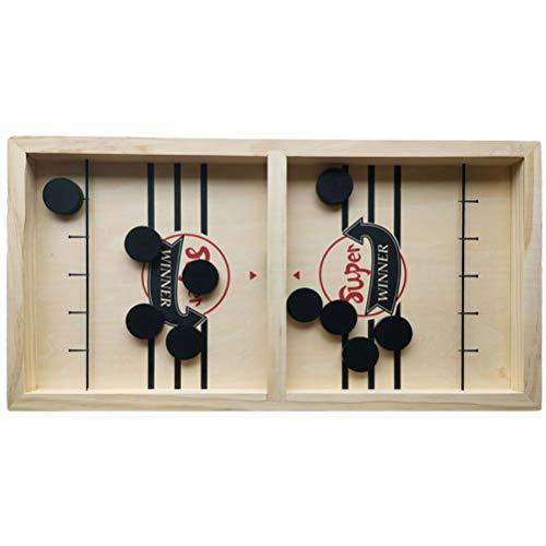 Fovely Holz-Brettspiel - Schnelles Sling-Puck-Spiel Tempo-Sling-Puck-Gewinner Brettspiele Spielzeug für Erwachsene Eltern-Kind-interaktives Brettspiel