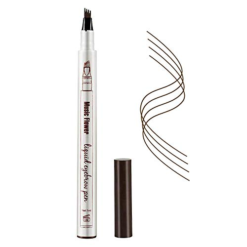 Eyebrow Tattoo Pen,Microblading Eyebrow Pencil with a Micro-Fork Tip Applicator Creates Natural Looking Brows Effortlessly and Stays on All Day(Dark Gary)
