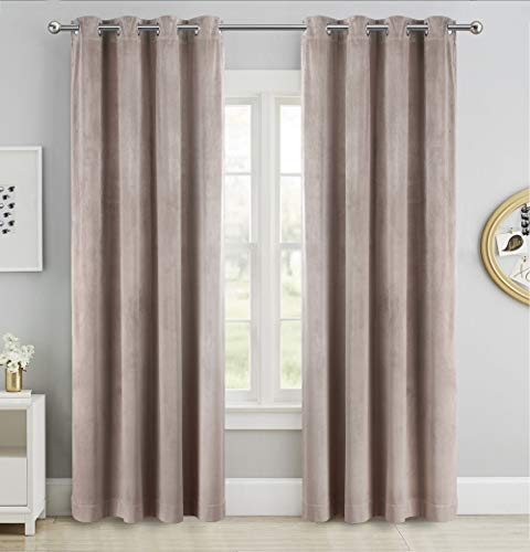 SINGINGLORY Velvet Taupe Curtains 52 x 84 Inch Blackout Grommet Window Curtains 2 Panels Set for Bedroom and Living Room (W52 xL84, Taupe Brown)