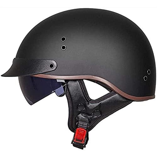 XDKJ Casco Retro de Medio Casco para Motocicleta, Casco Abierto para Adultos, Certificado por el Dot, Estilo Vintage, para Adultos, Casco de Motocross, para Hombre y Mujer (Size : M=55-56cm)