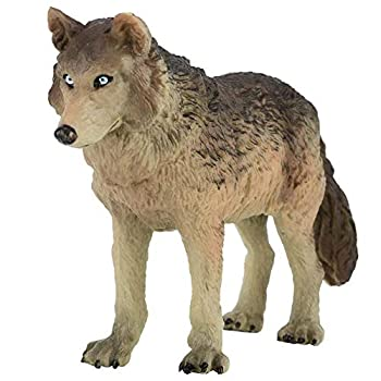 Zerodis Wolf Figurine,Miniature Simulation Solid Wildlife Animal Model Educational Toy Decorative Collection Gift for Kids Grey
