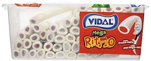 Vidal Golosinas Mega Ritmo. Regaliz relleno con intenso sabor a Fresa-Nata. Color blanco y su interior rojo. Bandeja 70 unidades.