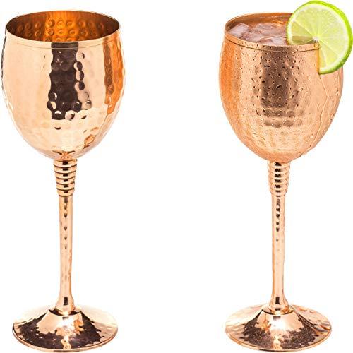 Juego de 2 copas de vino de cobre brillante de 325 ml, cobre macizo martillado, copas de vino con tallos de latón bañado en cobre, regalo para hombres y mujeres