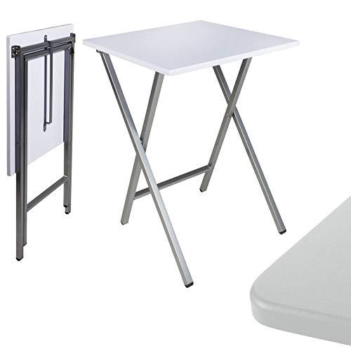 TIENDA EURASIA® Mesa Plegable Auxiliar Cuadrada - 48 x 48 x 65 cm (Blanca)
