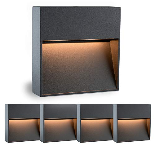 5 Stück SSC-LUXon® Treppenleuchte Aussen LED KEILA anthrazit eckig - Wandspot IP54 für Innen und Außen, 2W warmweiß 2700K