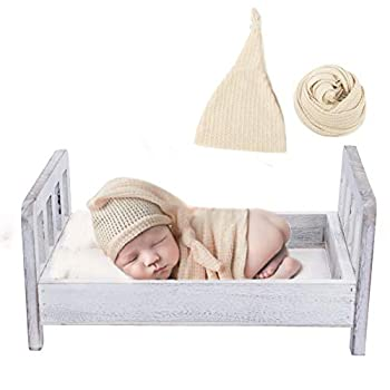 Newborn Photography Bed Baby Photography Prop Bed with Ripple Wrap & Hat Posing Props Wooden Bed White