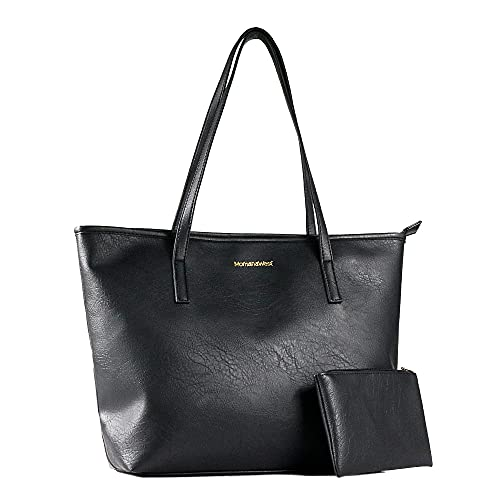 Montana West Large Leather Tote Bags for Women Cute Concealed Carry Shoulder Bags Handbags with Gun Holster (EDC Black)