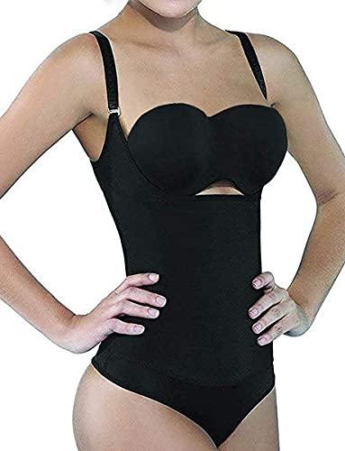 SHAPERX Womens Fajas Colombianas Open Bust Bodysuits Tummy Control Postparto Postpartum Thong Body Shaper, SZ7095-Black-New-XL