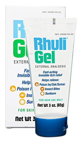 Rhuli Anti-Itch Gel - Analgesic Itch Treatment - Relief for Sunburn, Mosquitos, Bug Bites, Poison Ivy, Poison Oak, and More - Cooling Itch Stopping for Topical Skin Use - 3 Oz Tube