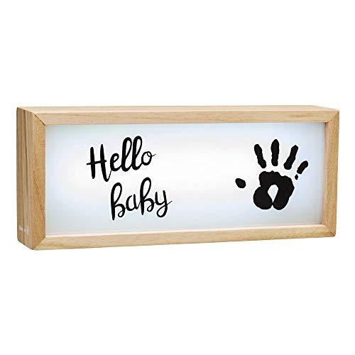 Baby Art My Baby Lightbox Boîte lumineuse à LED avec kit d'empreintes, lampe LED personnalisable pour chambre, base en bois avec lumière blanche