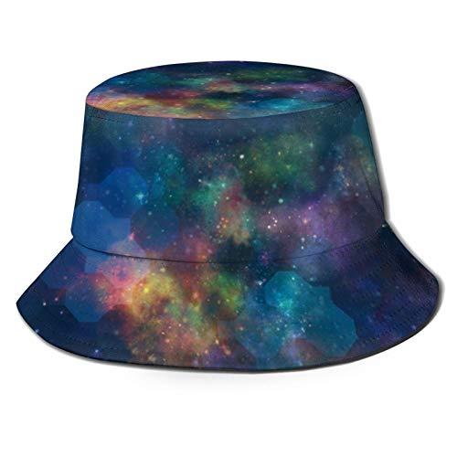 GAHAHA Fischerhüte für Männer, bunte Weltraum-Anglerkappe, Wandern, tragbar, Sonnenschutz, UV-Schutz, faltbar, Sommerhut für den Außenbereich