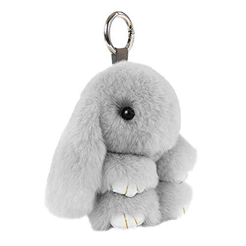 Toyvian Bunny Keychain Soft Cute Rex Rabbit Fur Keychain Car Key Celular Bolsa Colgante Encantos Regalo del Favor de Fiesta de Pascua (Gris Claro, 18cm, Imitación de Piel de Conejo)